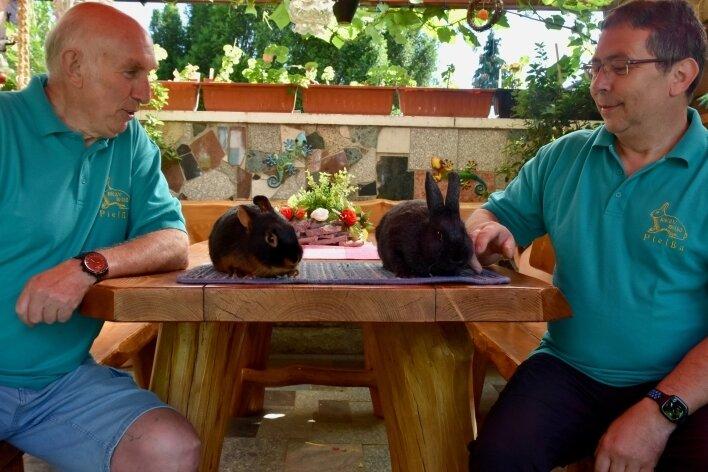 Peter Aurich (links) vom Rassekaninchenzuchtverein S 416 Pleißa mit einem Loh-Kaninchen und Vereinschef Andreas Philipp mit einem Kleinsilber. Mitte Juli soll in Pleißa eine Tierschau stattfinden.