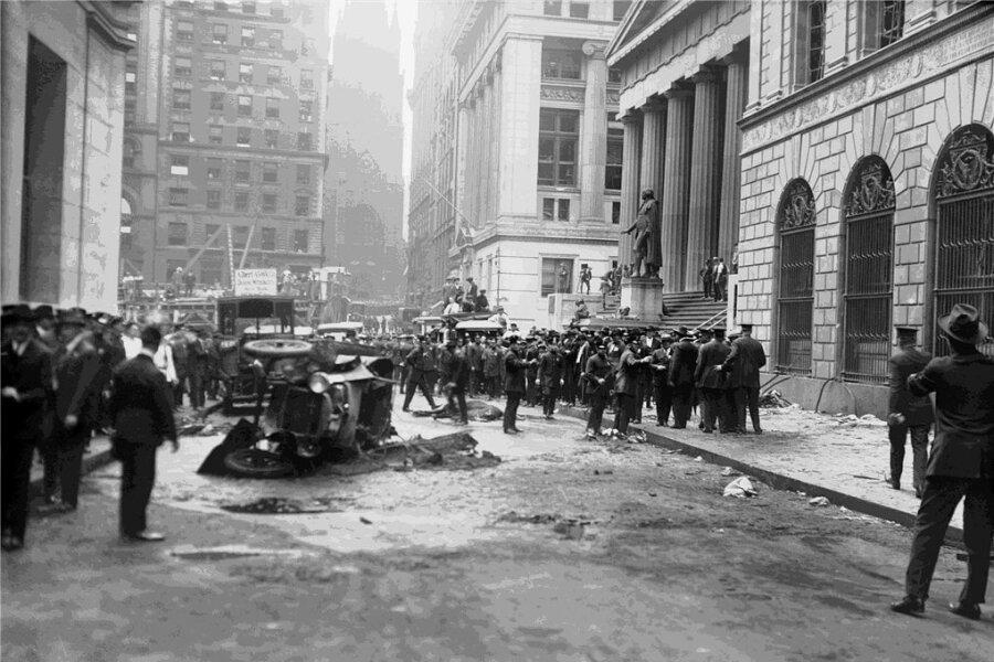 Am 16. September 1920 explodierte eine Bombe unmittelbar vor der Börse in der New Yorker Wall Street, gegenüber dem Bankhaus J.P. Morgan.
