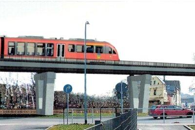 So soll er aussehen, der neue Schienenstrang in Richtung Johanngeorgenstadt, der über die B 101 und S 272 führt.