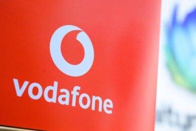Blick auf das Logo von Vodafone.