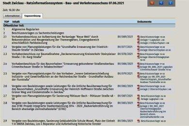 Im Ratsinformationssystem des Zwickauer Stadtrates im Internet kann man sich Tagesordnungen und Beschlussvorlagen ansehen.