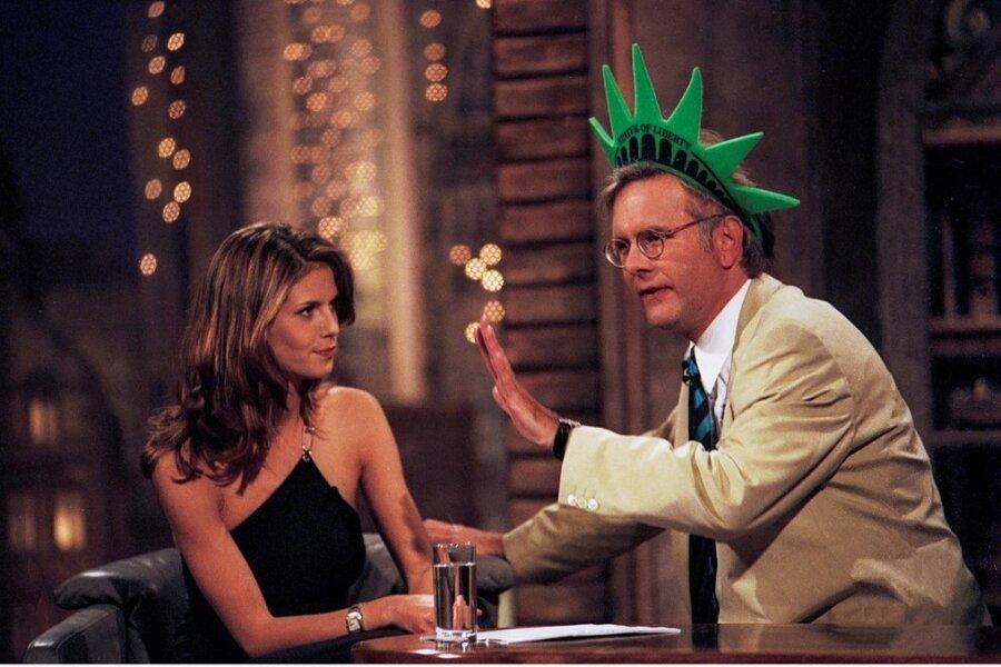 Die Harald-Schmidt-Show, hier der namensgebende Gastgeber mit Model Heidi Klum, sorgte für einigen Gesprächsstoff.