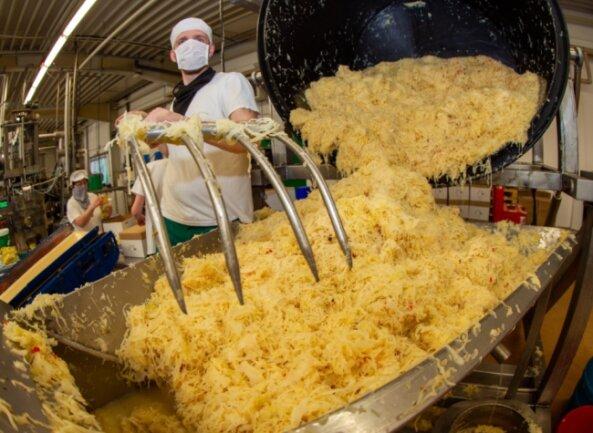 Sauerkrautproduktion bei Schlichting in Plauen: Das fermentierte Kraut kommt vom großen Kessel in die Verpackungslinie, mit einer großen Gabel und Muskelkraft befördert es Patrick Lisch auf das Verpackungsband.