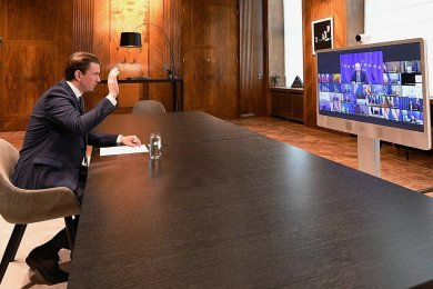 Österreichs Bundeskanzler Sebastian Kurz beim virtuellen EU-Gipfel.