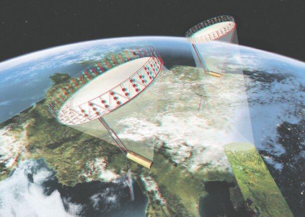 Animation der geplanten Satelliten des Tandem-L-Projekts.  Grafik: DLR