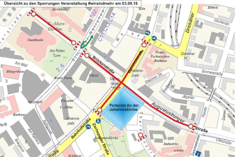 Am Montag kommt es wegen der Konzerte zu Verkehrseinschränkungen in der Chemnitzer Innenstadt.