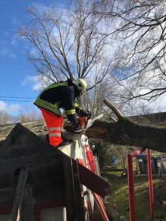 In Schneppendorf traf ein Baum das Gerätehaus der Freiwilligen Feuerwehr. Dabei wurde das Dach beschädigt.