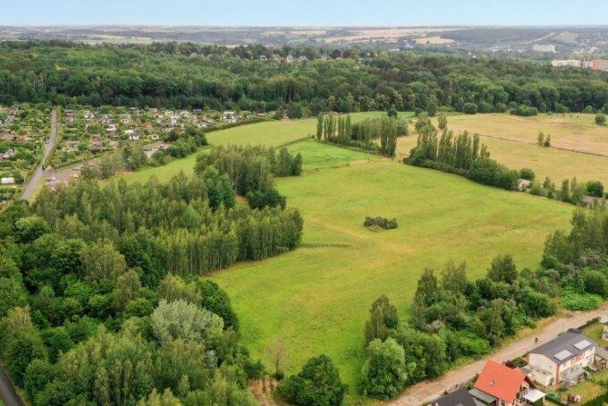 Auf der derzeit unbebauten Fläche nahe der Gartenanlage Lug ins Land will ein Immobilienentwickler Einfamilienhäuser und Doppelhaushälften errichten lassen.