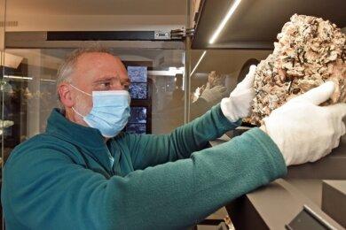 Trotzt geschlossener Besuchertüren herrscht wieder Betriebsamkeit in der Sammlung des Krügerhauses in Freiberg. Geschäftsführer Andreas Massanek positioniert eine Stufe aus dem Vogtland als neues Ausstellungsstück.