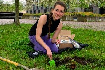 Stefanie Walter vergräbt hinter der Hochschule Mittweida einen Teebeutel.