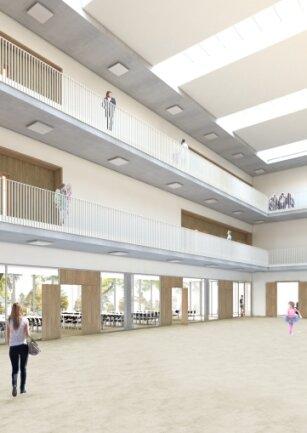 So sieht in etwa das Atrium der Schule aus.