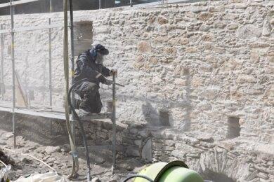 Großprojekt Stadtmauer: In diesem Jahr wird ein 42 Meter langer Abschnitt vor dem Turmhaus instand gesetzt.