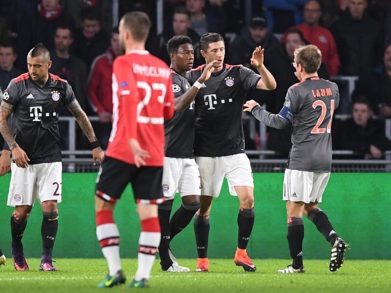 Die Bayern besiegten die PSV Eindhoven mit 2:1.