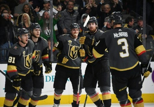 Die Golden Knights feiern das Play-off-Ticket