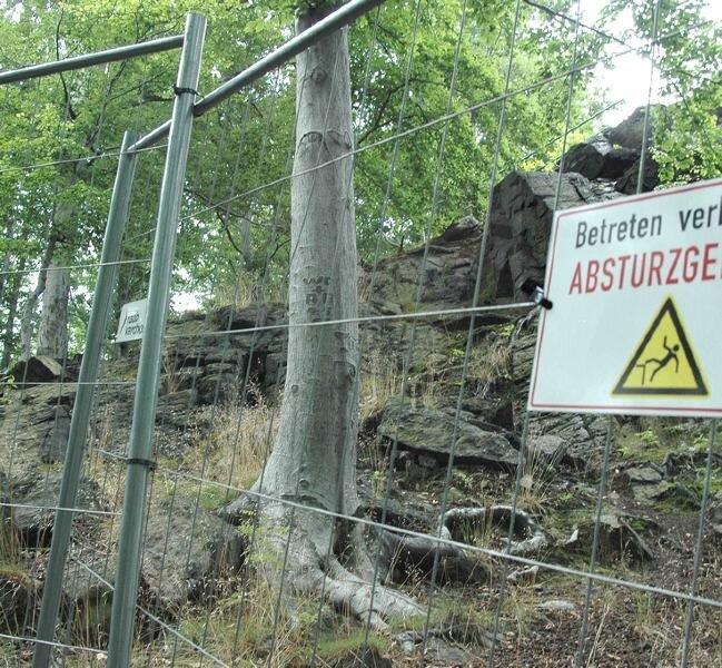 Noch gibt es zahlreiche kritische Stellen auf dem bewaldeten Felsmassiv des Ottensteins, die momentan abgesperrt werden.