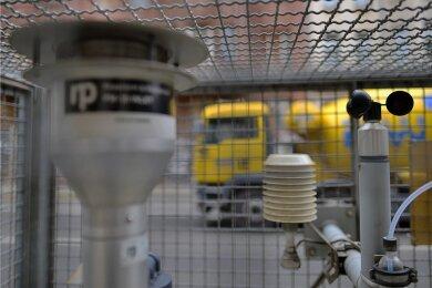 Eine Messstation in Leipzig. Die Luftqualität hat sich in der Stadt - wie generell in Sachsen - verbessert.