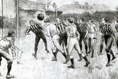 So muss Fußball im 19. Jahrhundert ausgesehen haben. Die Illustration zeigt ein Spiel der englischen Mannschaften Blackburn Rovers und Notts County. Auch in Zwickau hat der Sport eine lange Tradition.