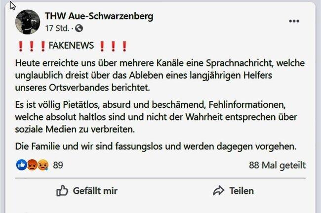 Das THW auf Facebook. So reagiert der Hilfsverband auf die Sprachnachricht.