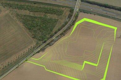 Oben die A 72, links die K 7807 von Oberlosa nach Obermarxgrün. Im grünen Bereich ist der Mercedes-Standort geplant.