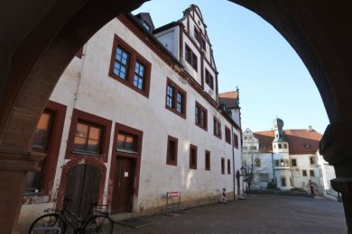 Blick auf den Innenhof von Schloss Forderglauchau.