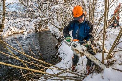Wasserbauer Jirka Rößler gehört zu den drei Mitarbeitern der Flussmeisterei Annaberg, die derzeit entlang der Flöha in Olbernhau zur Erhaltung des Gewässers Gehölze auslichten.