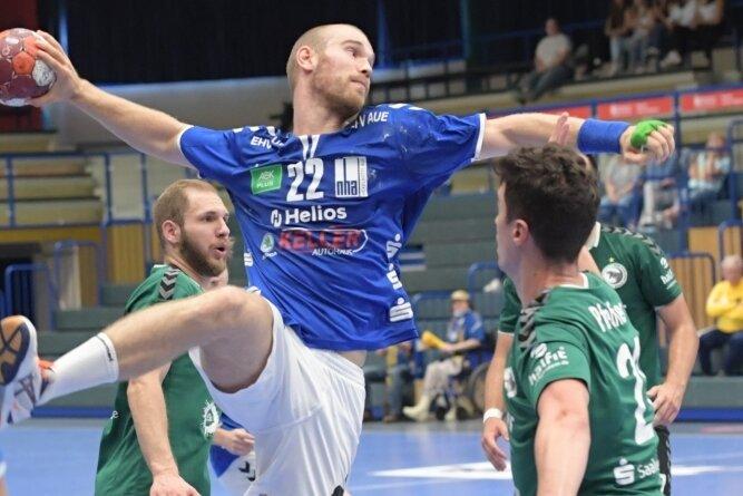 Aues Jonas Leubner steuerte zum 37:30 des EHV II gegen Halle drei Tore bei und machte auch insgesamt ein gutes Spiel.