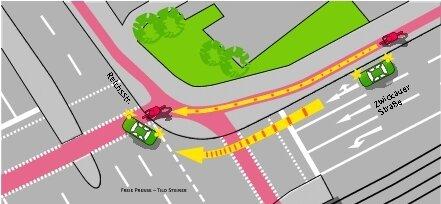 """<p class=""""artikelinhalt"""">Eine typische Gefahrensituation, hier an der Zwickauer/Ecke Reichsstraße: Der Fahrer eines abbiegenden Autos hat den Radfahrer nicht gesehen.</p>"""