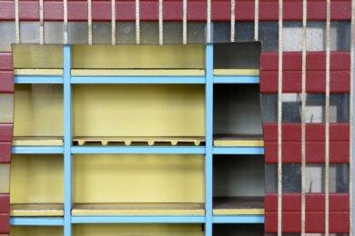 """Die Detailaufnahme zeigt ein Modell eines Gebäudes """"Typ Leipzig""""."""