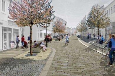 Die Rochlitzer Straße soll nach Vorstellung des Architekturbüros künftig so aussehen. Die Geschäftsinhaber müssen zuvor mit einer Großbaustelle vor der Ladentür leben.