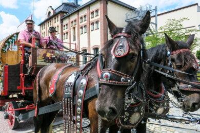 Mit drei von Pferden gezogenen Wagen war die Gruppe im Erzgebirge unterwegs.