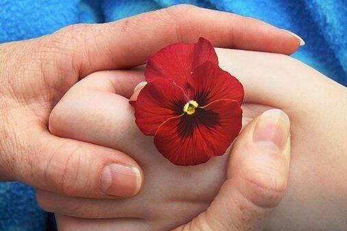 Eine Mutter hält die Hand ihres todkranken Sohnes in einem Kinderhospiz.