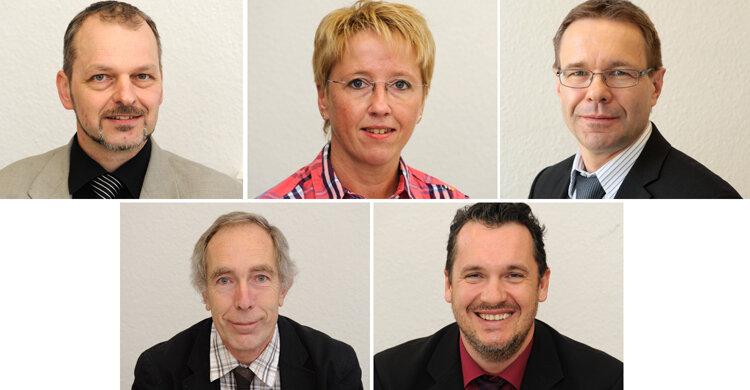 Die Experten: oben: Holger Jähnigen, Antje Barth und Uwe Rauhöft ; unten: Stephan Grossmann und André Unger