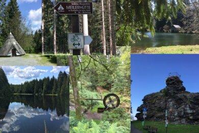 Die Radtour entlang des Kammwegs bietet jede Menge Reize: angefangen vom Aussichtspunkt Alter Söll in Schöneck, über die Talsperre Muldenberg, Kielfloßgraben und Unteren Floßteich bis zur Meilerhütte.