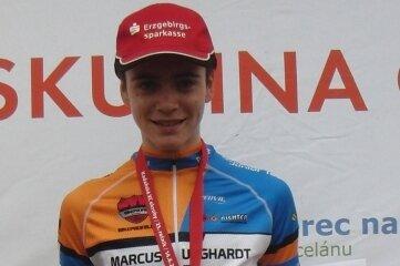 Pepe Albrecht, hier nach einem früheren Rennen, gewann mit dem Sachsen-Vierer Bronze.