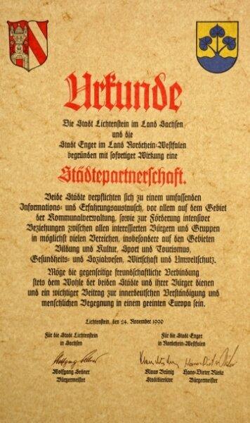 """<p class=""""artikelinhalt"""">Am 24. November 1990 ist der Städtepartnerschaftsvertrag zwischen Lichtenstein und Enger besiegelt worden. </p>"""