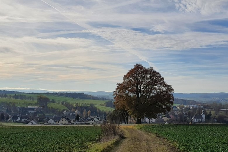Blick vom höchsten Punkt der Tour auf Leubsdorf.