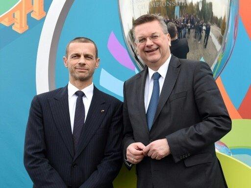 Aleksander Ceferin und DFB-Präsident Reinhard Grindel