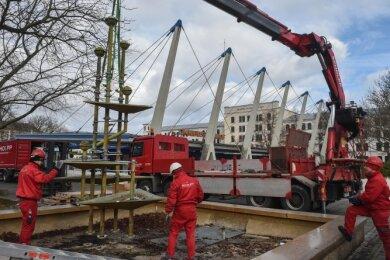 Im Februar vor einem Jahr wurde der Klapperbrunnen abmontiert und eingelagert. Offen ist, wann er zurückkommt.