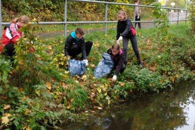 Laura Schneider, Neil Schwabe, Maja Schäfer und Tabea Gumprecht (v.l.) von der Oberschule Lengenfeld bei Reinigungsarbeiten am Wehr.