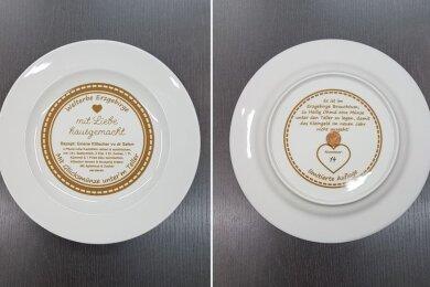 Wir verlosen diesen Welterbe-Teller mit einer 1-Cent-Münze auf der Rückseite und der laufenen Nummer 14. Ingesamt gibt es nur 200 Stück von diesem Teller.