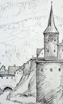 Den Plauener Nonnenturm um 1525 zeigt diese Zeichnung von Rudolf Donnerhack.