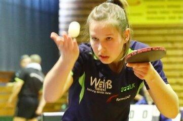 Maria Franz vom TTSV Tannenberg hat eben erst ihre Zugehörigkeit zu Rangliste 1 bestätigt und wird in der Sachsenliga nur schwer zu besiegen sein.