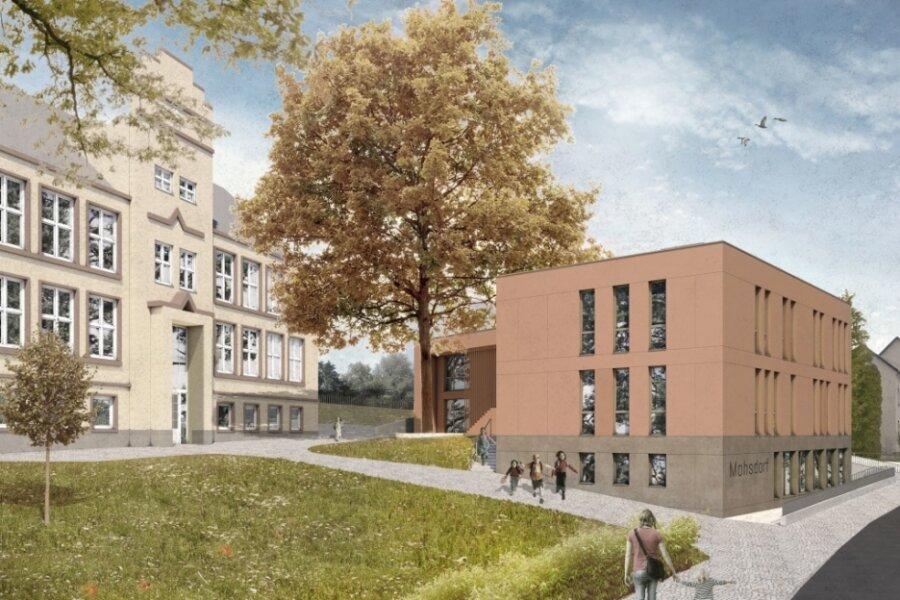 So soll der Hort-Neubau vor der Grundschule in Mohsdorf aussehen. Die Fassade wird rötlich gestaltet und passt laut Architekten damit zu den Fensterfaschen der Schule und zur Buche.
