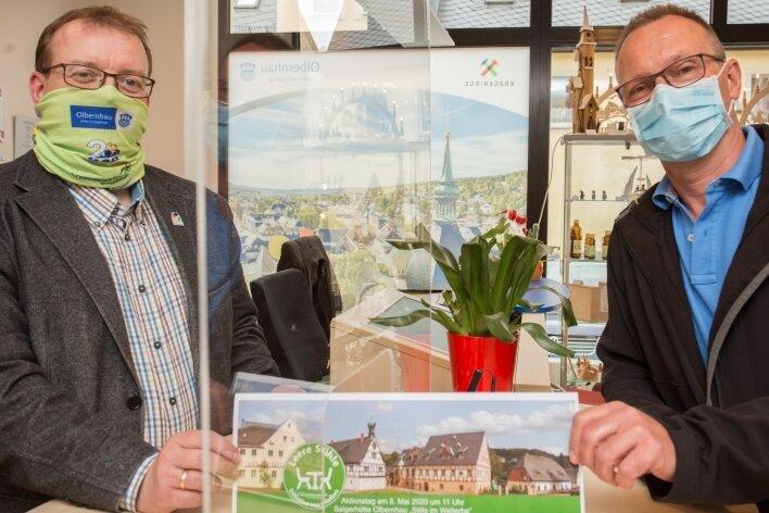 """Udo Brückner (links) und Markus Gorny werben für die Aktion """"Stille im Welterbe""""."""