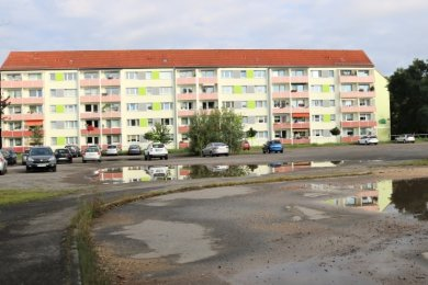 Wenig einladend ist die Freifläche an der Lessingstraße in Flöha. Das soll sich schon bald ändern. Die Stadt will hier einen Rasen und eine Blumenwiese anlegen.