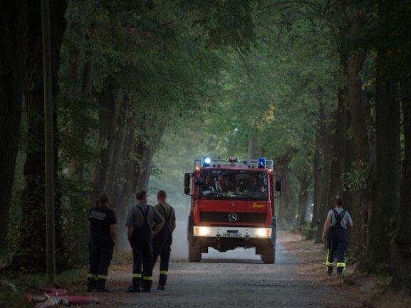 Ein Feuerwehrauto in der Nähe des Waldbrandes.