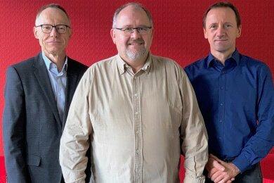 Am Lesertelefon (v. l.): Ulrich Große (Landesverband des Kfz-Gewerbes), Matthias Bähr (Citysax Mobility GmbH) und Thomas Kubin (ADAC Sachsen).