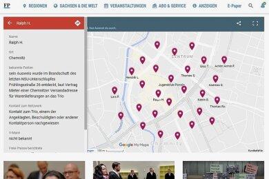 """Oben sieht man allein den Chemnitzer Teil des NSU-Helfernetzes, bundesweit machte die """"Freie Presse"""" über 100 Namen aus."""