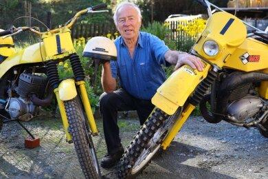 Erhard Stieglers Trial-Wettkampfmaschinen: Eine MZ (r.) und eine Euro, eine Eigenbaumaschine von Günter Ruttloff.