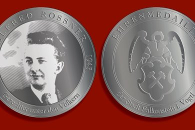 Vorder- und Rückseite der Alfred-Roßner-Medaille.